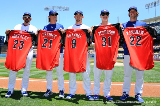 The Dodgers National League All-Stars pose for a photo.