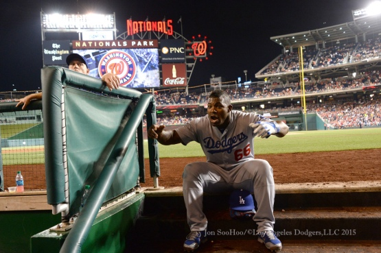 Los Angeles Dodgers during game against the Washington Nationals Friday, July 17, 2015 at Nationals Park in Washington, DC. Photo by Jon SooHoo/©Los Angeles Dodgers,LLC 2015.
