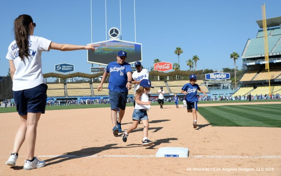 After the game fans were able to participate during Kids Run the Bases. Jill Weisleder/Dodgers
