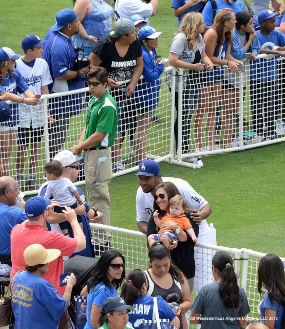 Fans were able to participate in taking photos during the Dodgers Photo Day on the field. Jill Weisleder/Dodgers