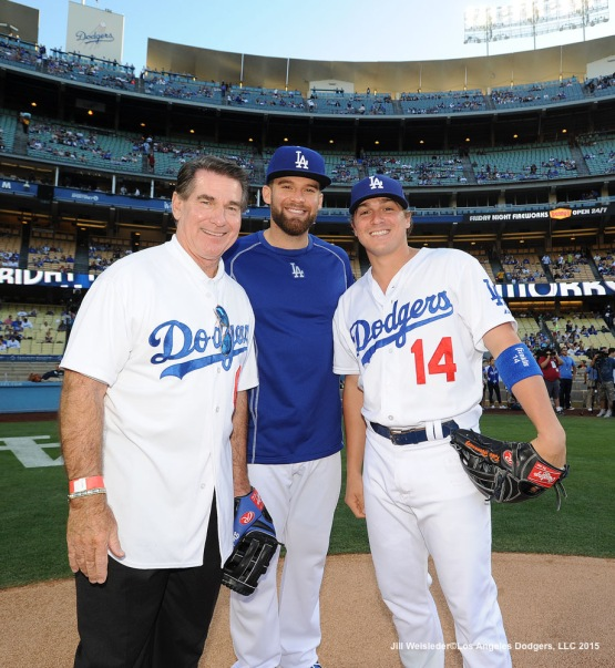 "Steve Garvey, Paco Rodriguez and Enrique ""Kike"" Hernandez pose for a photo on the mound prior to the game. Jill Weisleder/LA Dodgers"