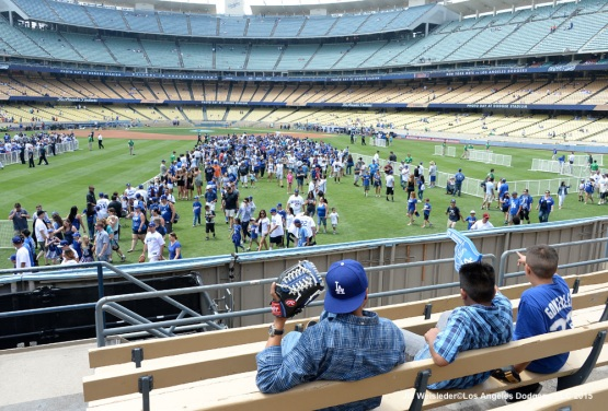 Fans watch from the pavilion section during Dodger Photo Day. Jill Weisleder/Dodgers