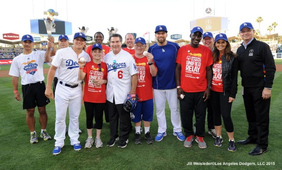 Participants from the Special Olympics pose for a photo during the pre game festivities prior to the start of the game against the Milwaukee Brewers. Jill Weisleder/LA Dodgers
