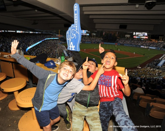 Young fans enjoy themselves watching the Dodgers take on the Milwaukee Brewers. Jill Weisleder/LA Dodgers