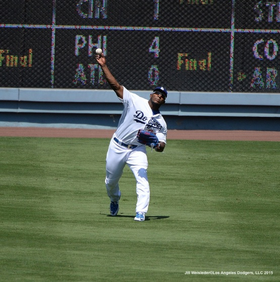 Yasiel Puig in action. Jill Weisleder/Dodgers