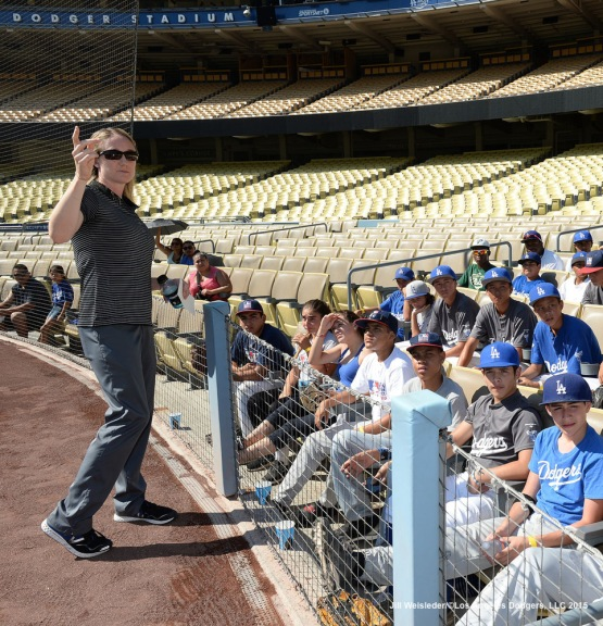 Dodgers Assistant Athletic Trainer Nancy Patterson Flynn addresses the participants during the 2015 National PLAY Campaign Clinic held at Dodger Stadium in Los Angeles, California. Jill Weisleder/LA Dodgers