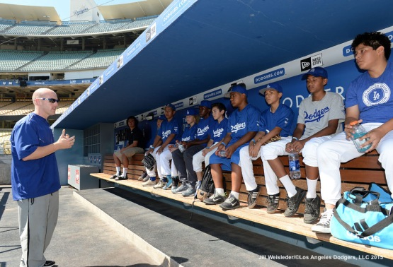 The Dodgers Strength and Conditioning Trainer Brandon McDaniel addresses the participants during the 2015 National PLAY Campaign Clinic at Dodger Stadium in Los Angeles, California. Jill Weisleder/LA Dodgers