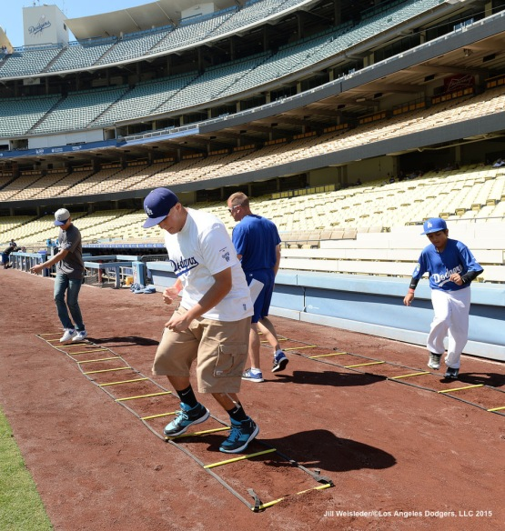 Participants experience conditioning drills during the clinic. Jill Weisleder/LA Dodgers