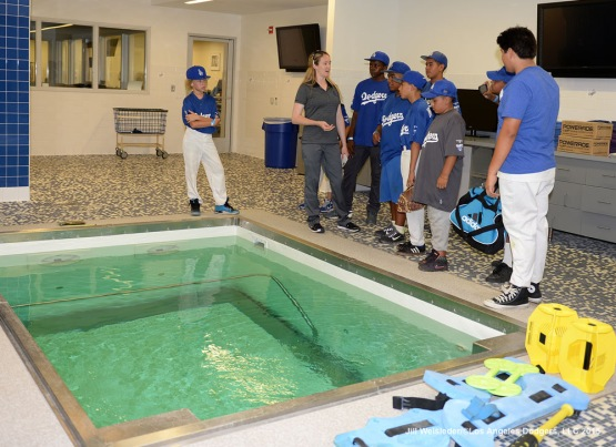 Dodgers Assistant Athletic Trainer Nancy Patterson Flynn shows the jacuzzi spas that the Dodgers use during the season. Jill Weisleder/LA Dodgers