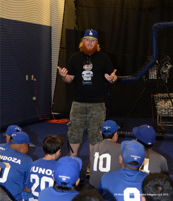 Dodgers Infielder Justin Turner speaks with the kids during the  National PLAY Campaign Clinic. Jill Weisleder/LA Dodgers