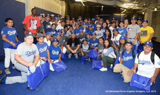 Justin Turner poses for a photo with the participants during the National PLAY Campaign Clinic at Dodger Stadium in Los Angeles, California. Jill Weisleder/LA Dodgers