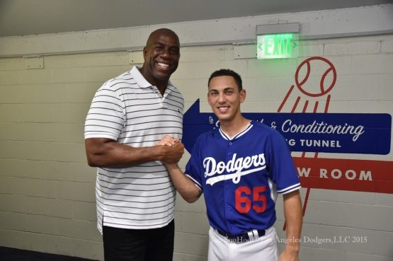 Earvin Magic Johnson with catcher Austin Barnes before game against the Los Angeles Angels of Anaheim Saturday, August 1, 2015 at Dodger Stadium in Los Angeles, California. Photo by Jon SooHoo/©Los Angeles Dodgers,LLC 2015