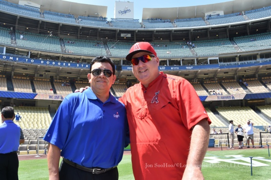 Fernando Valenzuela with Mike Scioscia before game  Saturday, August 1, 2015 at Dodger Stadium in Los Angeles, California. Photo by Jon SooHoo/©Los Angeles Dodgers,LLC 2015