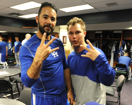 Andre Ethier and Joc Pederson pregame taunt of Trojan Me--Los Angeles Dodgers vs Colorado Rockies Saturday, September 26, 2015 at Coors Field in Denver,Colorado. The Rockies beat the Dodgers 8-6. Photo by Jon SooHoo /©Los Angeles Dodgers,LLC 2015