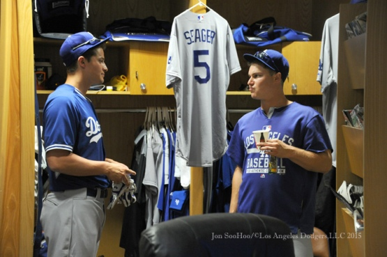Corey Seager makes his major league debut---Los Angeles Dodgers vs San Diego Padres Thursday, September 3, 2015 at Petco Park in San Diego, California. Photo by Jon SooHoo/©Los Angeles Dodgers,LLC 2015