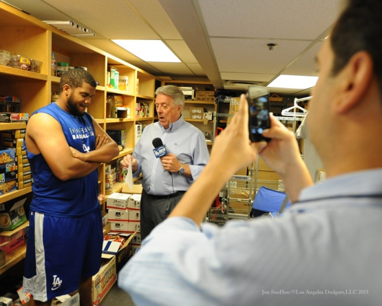 Kenley Jansen interviewed by Rick Monday--Los Angeles Dodgers vs Colorado Rockies Saturday, September 26, 2015 at Coors Field in Denver,Colorado. The Rockies beat the Dodgers 8-6. Photo by Jon SooHoo /©Los Angeles Dodgers,LLC 2015