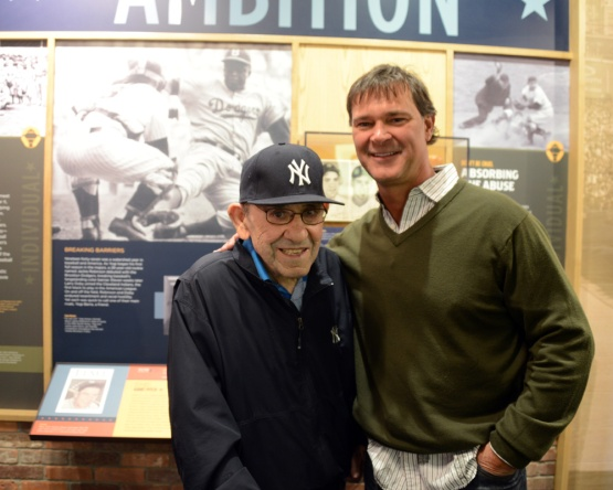 Los Angeles Dodgers Manager Don Mattingly visits with his friend, New York Yankees legend Yogi Berra Monday, April 22, 2013 at the Yogi Berra Museum in Little Falls, New Jersey. Photo by Jon SooHoo/LA Dodgers, 2013