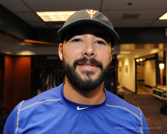Andre Ethier continues to taunt this Trojan pregameÉOutcome...USC-42-ASU-14 Saturday, September 26, 2015 at Coors Field in Denver,Colorado. The Rockies beat the Dodgers 8-6. Photo by Jon SooHoo /©Los Angeles Dodgers,LLC 2015