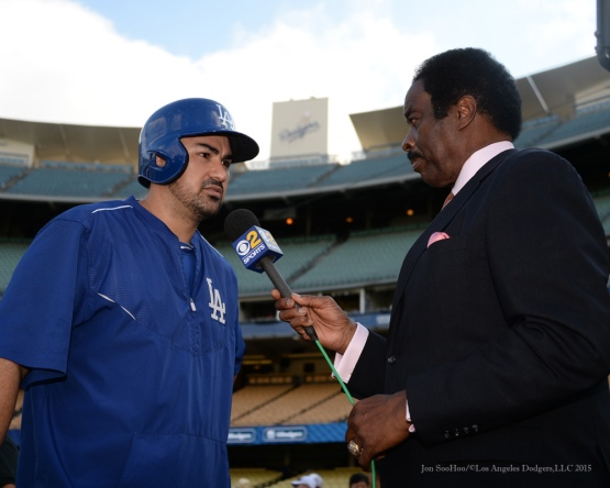 Adrian Gonzalez is interviewed by Jim Hill  Tuesday, September 15,2015 at Dodger Stadium in Los Angeles, California. Photo by Jon SooHoo/ ©Los Angeles Dodgers,LLC 2015