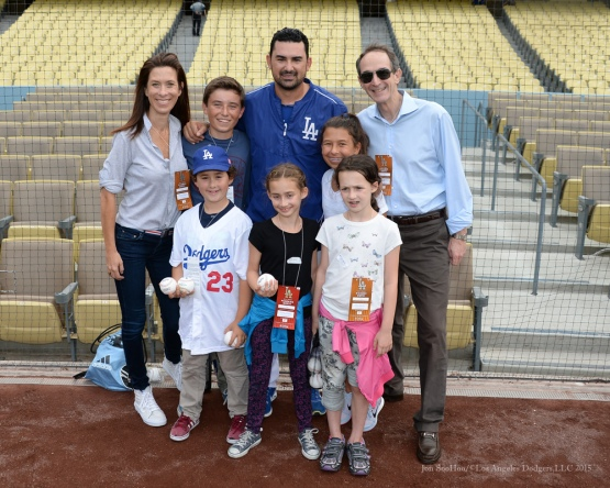 Adrian Gonzalez poses with great Dodger fans prior to game Tuesday, September 15,2015 at Dodger Stadium in Los Angeles, California. Photo by Jon SooHoo/ ©Los Angeles Dodgers,LLC 2015