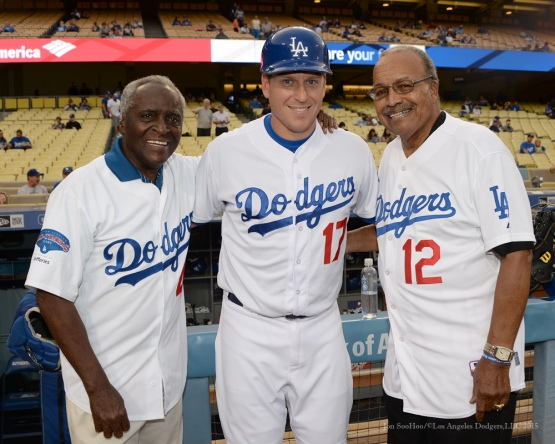Sweet Lou Johnson, A.J. Ellis and Tommy Davis poses prior to Los Angeles Dodgers vs Colorado Rockies game Tuesday, September 15,2015 at Dodger Stadium in Los Angeles, California. Photo by Jon SooHoo/ ©Los Angeles Dodgers,LLC 2015