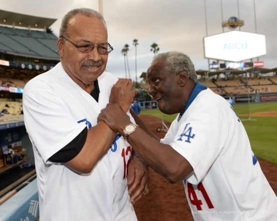 Tommy Davis and Sweet Lou Johnson--Los Angeles Dodgers vs Colorado Rockies Tuesday, September 15,2015 at Dodger Stadium in Los Angeles, California. Photo by Jon SooHoo/ ©Los Angeles Dodgers,LLC 2015