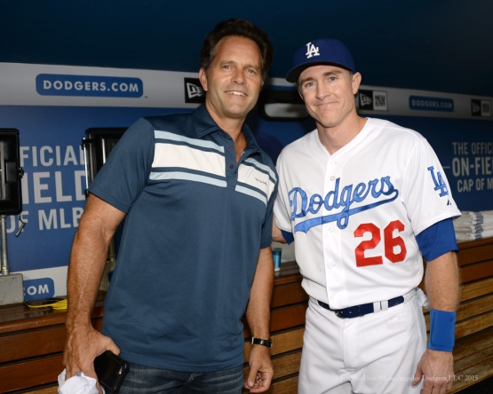 Los Angeles Dodgers, UCLA Bruins connection Eric Karros and Chase Utley pose prior to game vs the Colorado Rockies Tuesday, September 15,2015 at Dodger Stadium in Los Angeles, California. Photo by Jon SooHoo-USCTrojan/ ©Los Angeles Dodgers,LLC 2015