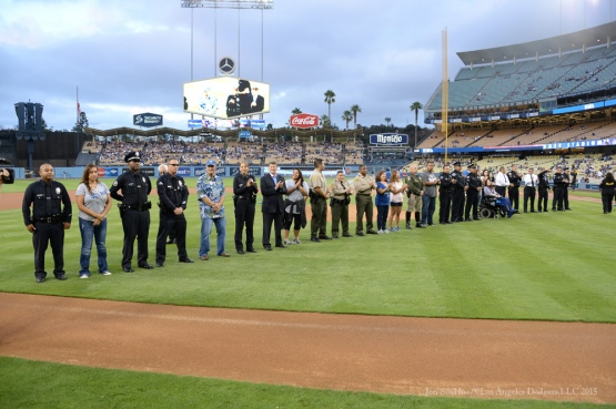 Honorees during Law Enforcement Night before Los Angeles Dodgers vs Colorado Rockies game Tuesday, September 15,2015 at Dodger Stadium in Los Angeles, California. Photo by Jon SooHoo/ ©Los Angeles Dodgers,LLC 2015