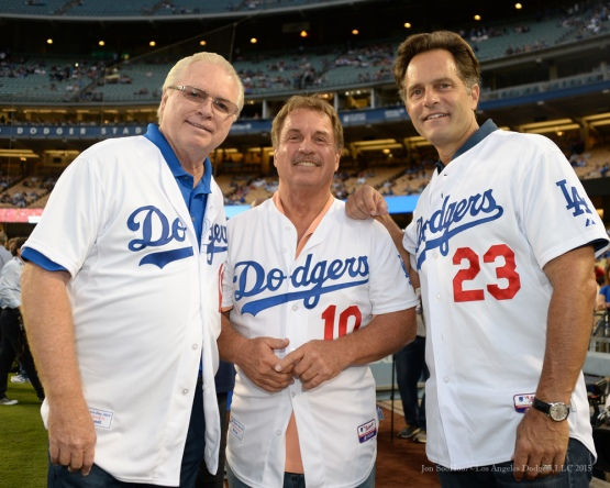 Bill Russell, Ron Cey and Eric Karros pose prior toLos Angeles Dodgers vs Colorado Rockies game Tuesday, September 15,2015 at Dodger Stadium in Los Angeles, California. Photo by Jon SooHoo/ ©Los Angeles Dodgers,LLC 2015