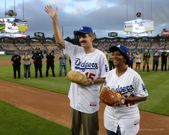 Law Enforcement Night honorees LA City Attorney, Mike Feuer and LA County District Attorney, Jackie Lacey prior to Los Angeles Dodgers vs Colorado Rockies game Tuesday, September 15,2015 at Dodger Stadium in Los Angeles, California. Photo by Jon SooHoo/ ©Los Angeles Dodgers,LLC 2015
