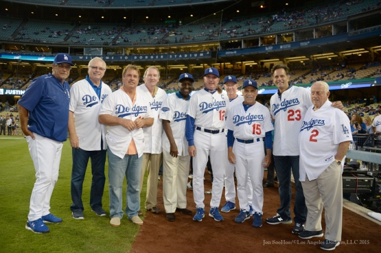 Steve Yeager, Bill Russell, Ron Cey, Charlie Hough, Sweet Lou Johnson, John Shoemaker, Ron Roenicke, Davey Lopes, Eric Karros and Tommy Lasorda--Los Angeles Dodgers vs Colorado Rockies Tuesday, September 15,2015 at Dodger Stadium in Los Angeles, California. Photo by Jon SooHoo/ ©Los Angeles Dodgers,LLC 2015