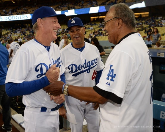 Ron Roenicke, Lorenzo Bundy and Tommy Davis--Los Angeles Dodgers vs Colorado Rockies Tuesday, September 15,2015 at Dodger Stadium in Los Angeles, California. Photo by Jon SooHoo/ ©Los Angeles Dodgers,LLC 2015