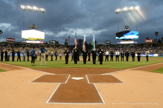 Law Enforcement Night prior to Los Angeles Dodgers vs Colorado Rockies game Tuesday, September 15,2015 at Dodger Stadium in Los Angeles, California. Photo by Jon SooHoo/ ©Los Angeles Dodgers,LLC 2015