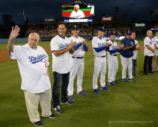 Tommy Lasorda waves to the crowd during ceremony honoring Los Angeles Dodgers Captain John Shoemaker----Los Angeles Dodgers vs Colorado Rockies game Tuesday, September 15,2015 at Dodger Stadium in Los Angeles, California. Photo by Jon SooHoo/ ©Los Angeles Dodgers,LLC 2015