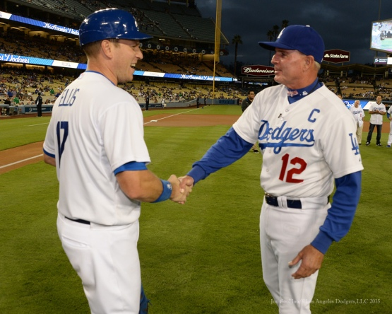 Los Angeles Dodgers Captain John Shoemaker with catcher A.J. Ellis ----Los Angeles Dodgers vs Colorado Rockies game Tuesday, September 15,2015 at Dodger Stadium in Los Angeles, California. Photo by Jon SooHoo/ ©Los Angeles Dodgers,LLC 2015