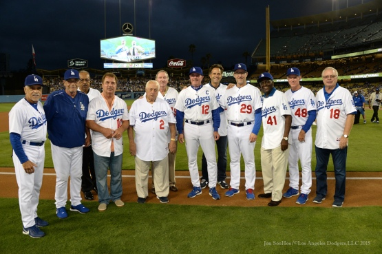 Ceremony for Los Angeles Dodgers Captain John Shoemaker--Los Angeles Dodgers vs Colorado Rockies game Tuesday, September 15,2015 at Dodger Stadium in Los Angeles, California. Photo by Jon SooHoo/ ©Los Angeles Dodgers,LLC 2015