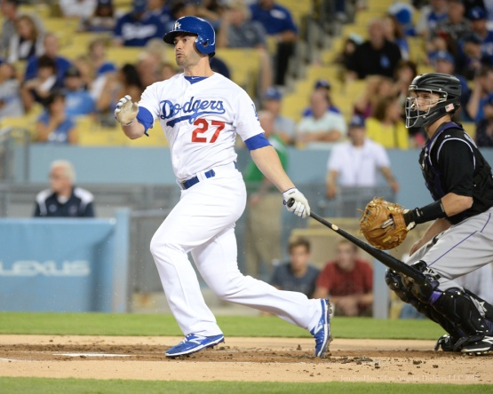 Justin Ruggiano doubles--Los Angeles Dodgers vs Colorado Rockies Tuesday, September 15,2015 at Dodger Stadium in Los Angeles, California. Photo by Jon SooHoo/ ©Los Angeles Dodgers,LLC 2015