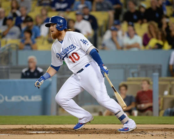 Justin Turner doubles-Los Angeles Dodgers vs Colorado Rockies Tuesday, September 15,2015 at Dodger Stadium in Los Angeles, California. Photo by Jon SooHoo/ ©Los Angeles Dodgers,LLC 2015