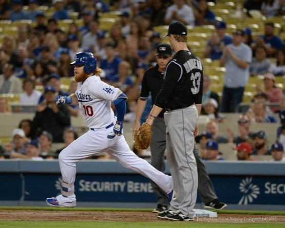 Los Angeles Dodgers vs Colorado Rockies Tuesday, September 15,2015 at Dodger Stadium in Los Angeles, California. Photo by Jon SooHoo/ ©Los Angeles Dodgers,LLC 2015