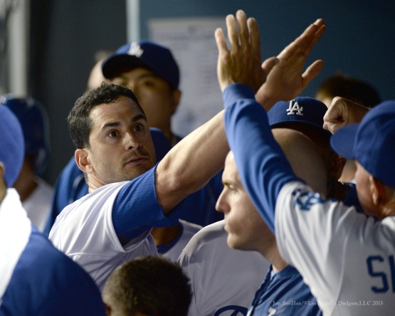 Justin Ruggiano in the dugout after scoring--Los Angeles Dodgers vs Colorado Rockies Tuesday, September 15,2015 at Dodger Stadium in Los Angeles, California. Photo by Jon SooHoo/ ©Los Angeles Dodgers,LLC 2015