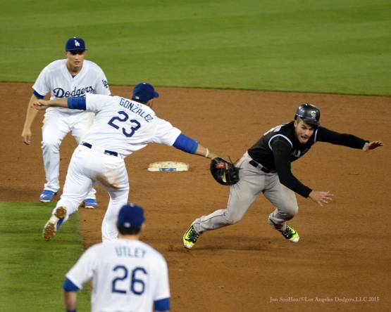 Adrian Gonzalez tags out runner--Los Angeles Dodgers vs Colorado Rockies Tuesday, September 15,2015 at Dodger Stadium in Los Angeles, California. Photo by Jon SooHoo/ ©Los Angeles Dodgers,LLC 2015