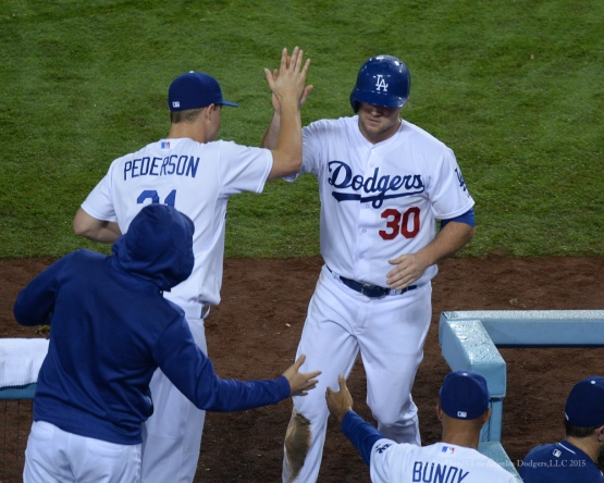 Scott Schebler is greeted at dugout--Los Angeles Dodgers vs Colorado Rockies Tuesday, September 15,2015 at Dodger Stadium in Los Angeles, California. Photo by Jon SooHoo/ ©Los Angeles Dodgers,LLC 2015