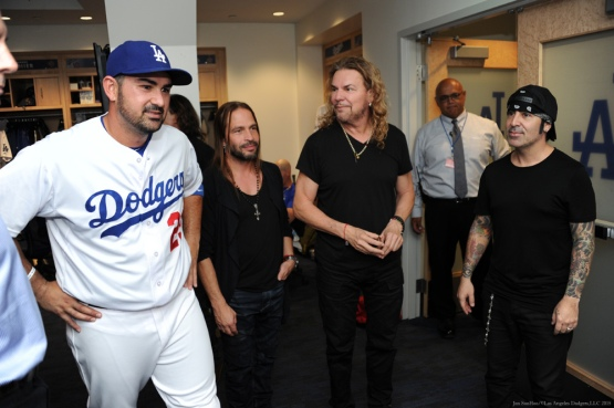 Adrian Gonzalez with Mana in the clubhouse pregame--Los Angeles Dodgers vs Colorado Rockies Wednesday, September 16, 2015 at Dodger Stadium in Los Angeles, California. Photo by Jon SooHoo/ ©Los Angeles Dodgers,LLC 2015