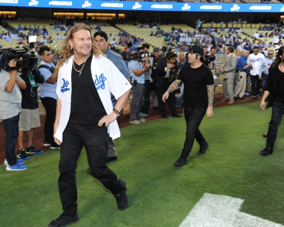 Mana heads to first pitch--Los Angeles Dodgers vs Colorado Rockies Wednesday, September 16, 2015 at Dodger Stadium in Los Angeles, California. Photo by Jon SooHoo/ ©Los Angeles Dodgers,LLC 2015