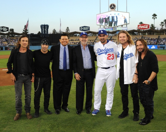 Fernando Valenzuela and Adrian Gonzalez pose with the band members of Mana along with Counsel General of Mexico Carlos Sada--Los Angeles Dodgers vs Colorado Rockies Wednesday, September 16, 2015 at Dodger Stadium in Los Angeles, California. Photo by Jon SooHoo/ ©Los Angeles Dodgers,LLC 2015