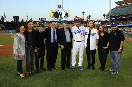 Fernando Valenzuela and Adrian Gonzalez pose with the band members of Mana along with Counsel General of Mexico Carlos Sada,  Cerveza Montejo, Margarita Flores and Fidel Vargas--Los Angeles Dodgers vs Colorado Rockies Wednesday, September 16, 2015 at Dodger Stadium in Los Angeles, California. Photo by Jon SooHoo/ ©Los Angeles Dodgers,LLC 2015