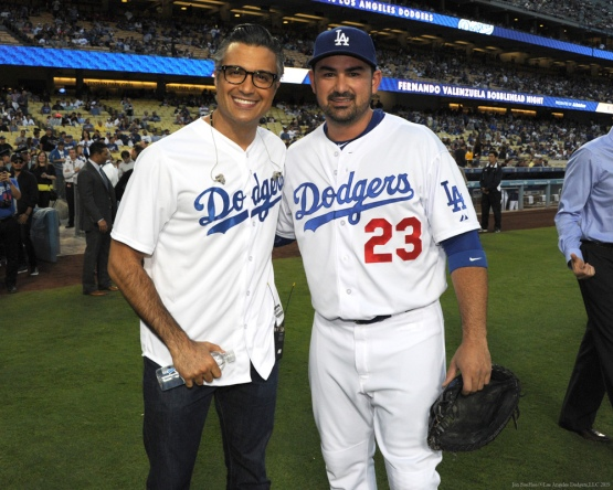 Adrian Gonzalez poses with Jaime Camil--Los Angeles Dodgers vs Colorado Rockies Wednesday, September 16, 2015 at Dodger Stadium in Los Angeles, California. Photo by Jon SooHoo/ ©Los Angeles Dodgers,LLC 2015