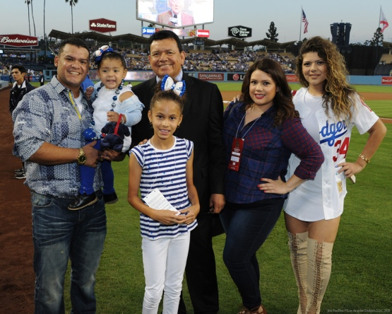 Fernando Valenzuela and family--Los Angeles Dodgers vs Colorado Rockies Wednesday, September 16, 2015 at Dodger Stadium in Los Angeles, California. Photo by Jon SooHoo/ ©Los Angeles Dodgers,LLC 2015