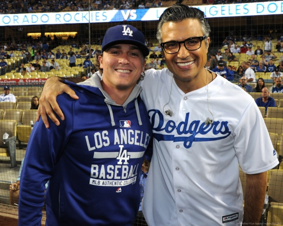 Kike Hernandez and Jamie Camil--Los Angeles Dodgers vs Colorado Rockies Wednesday, September 16, 2015 at Dodger Stadium in Los Angeles, California. Photo by Jon SooHoo/ ©Los Angeles Dodgers,LLC 2015