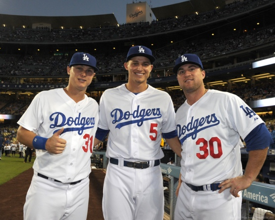 Joc Pederson, Corey Seager and Scott Schebler--Los Angeles Dodgers vs Colorado Rockies Wednesday, September 16, 2015 at Dodger Stadium in Los Angeles, California. Photo by Jon SooHoo/ ©Los Angeles Dodgers,LLC 2015